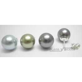 Pendiente Plata Casquilla Perla Color