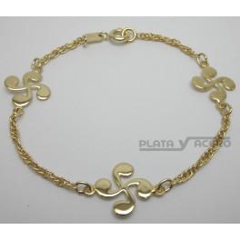 Pulsera Chapada Oro 3 Lauburus Grandes