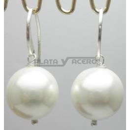 Pendiente Plata Perla Colgante