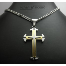 S.Steel Cross Pendant with Golden Color
