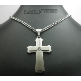 S.Steel Cross Pendant with Zirconia