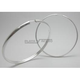 Pendiente Aro Plata 4 mm Media Caña