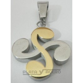 S.Steel and gold plated Laurubu pendant