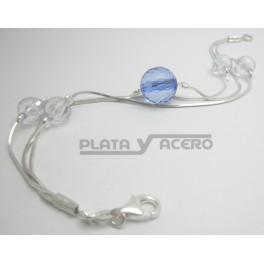 Pulsera Plata Bolas Azules