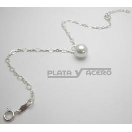 Tobillera Plata Perla Colgante