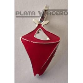 Colgante Plata Pañuelo Esmalte Rojo